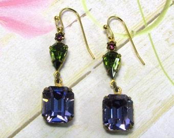 Purple Rhinestone Earrings, Green Rhinestone Earrings, Vintage Earrings, Swarovski Earrings, Dangle Earrings, Everyday Earrings, Vintage