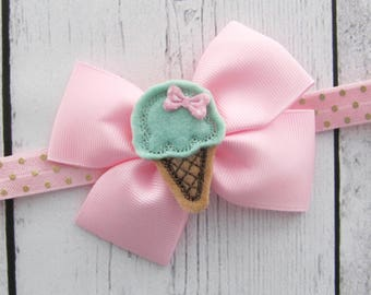 Ice Cream Bow Headband for Baby Girl - sweet one birthday, pink mint bow, baby girl headband, pink gold,