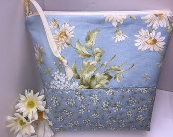 DAISES LARGE Wet Bag, Cosmetics Case, Water Resistant Bag, Tall Zipper Pouch, Large Project Bag,