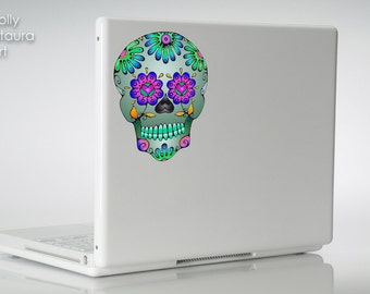 Day of the Dead Sugar Skull Vinyl Art Decal MacBook Laptop Sticker Dia De Los Muertos