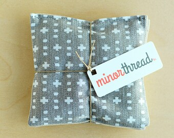 Organic Lavender Sachet Set in Grey Plus and Linen Handmade Hostess Gift - 2 Sachets Natural Home Mother's Day Gift