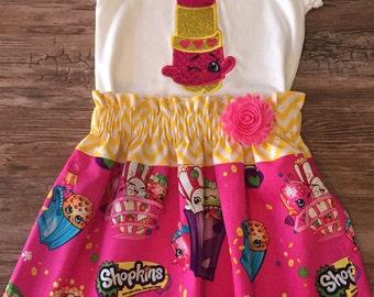 Shopkins  Lipstick Outfit, Lipstick Shopkins Shirt, Shopkins Outfit for Girls, Shopkins Skirt, Shopkins Lipstick Shirt