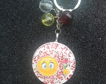 Keyring with handmade resin stickers