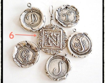 Wax Seal Jewelry Initial Pendant. Antique Wax Seal Monogram, MOST POPULAR style. Personalized Initial Charm GRANDMOTHER Gift,   Jewellery