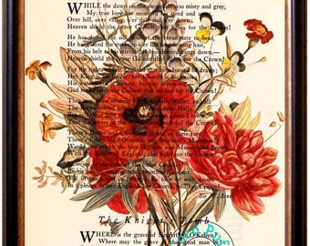 Antique WildFlowers Art -  Beautifully Upcycled Vintage Dictionary Page Book Art Print, Floral Art Print