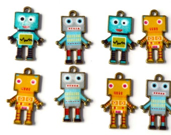Mixed Colors Turquoise Orange Gray Designs robots Bronze Enamel Pendant Charms Alloy Jewelry Making Supplies 07516