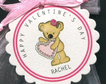 25 Personalized Valentine Favor Tags - Gift Tags - Valentine's Day Tags - Valentine Tags - Bear Holding Pink Heart