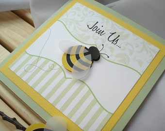 BEE-utiful Baby Square Fold Out Shower Invitation... SAMPLE