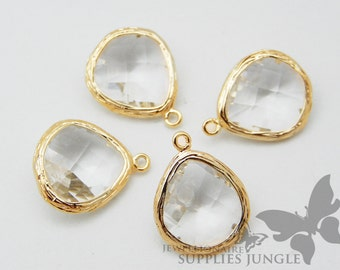 F100-G-CR// Gold Framed Crystal Faceted Glass Stone Pendant, 2 pcs