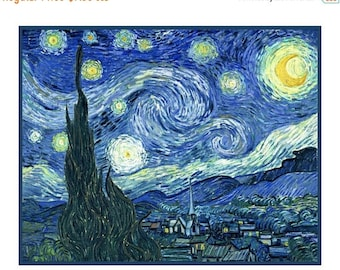 GREAT SALE Digital DOWNLOAD Vincent Van Gogh Impressionist Starry Starry Night Counted Cross Stitch Chart / Pattern