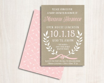 Laurel Baby Shower Invite - Shower Invitation - Baby Girl - Party Supplies
