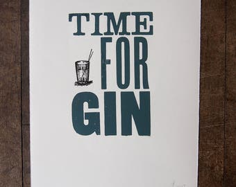 Time For Gin, a hand printed letterpress print