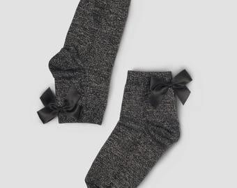 Socks bowtie black silver