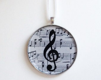 Ornament - Music Notes - G Clef  (Packaged) - perfect gift for music teacher - popular music themed gift