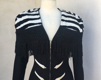 Vintage Wounded Bird new wave jacket black wool zebra print trim fringe Sz S/M by Parasuco of Canada.