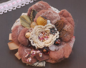Flower Brooch Statement Jewelry Fabric Flower Pin Boho corsage Pin fabric brooch Textile corsage Felt brooch Felt flower brooch pin felted