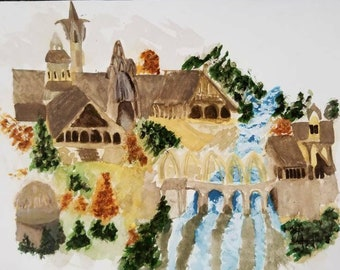 Rivendell Watercolor Painting - 8×10 - The Lord of the Rings