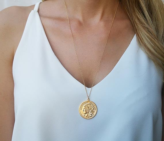 Gold Long Necklace, Gold Coin Necklace, Coin Pendant Necklace, Layered Necklace, Medallion Necklace, Everyday Necklace, Gold Necklace by Etsy