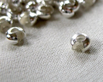 100 Crimp Covers; silver plated brass , 4mm diameter, pk of 100