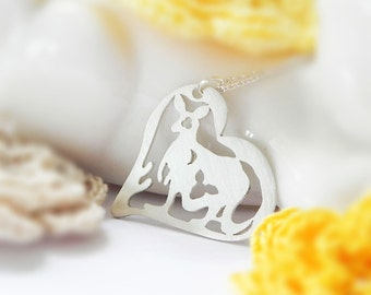Kangaroo Necklace, Heart, Sterling Silver