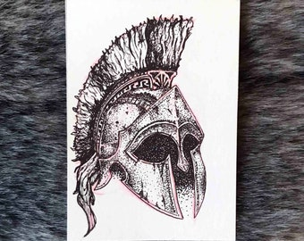 "Artist Trading Card (ATC, ACEO) Roman Helmet Original Drawing ""Inktober Day 2"""