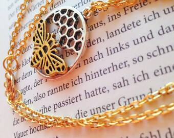 Honeycomb necklace gold silver