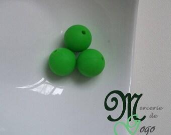 Round silicone bead. Diameter 1.5 cm green.