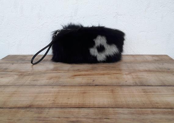 BLACK REAL fOX fUR WALLET with khaki flower,Womens Bag, Fox Fur Handbag, Shoulder Bag Women, Tote Bag, Gift For Her, Handmade.