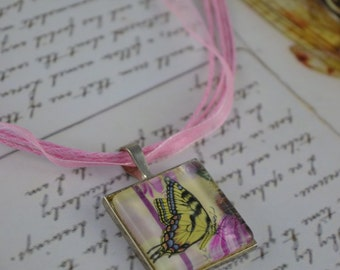 Butterfly Art Pendant, Butterfly Necklace, Wearable Art, Swallowtail Butterfly, Pink Butterfly Necklace, Yellow Butterfly Pendant