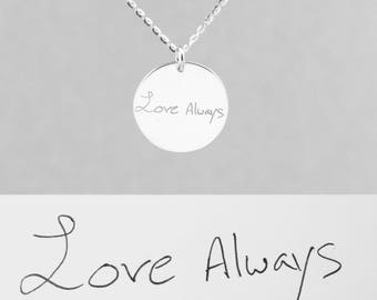 Handwriting necklace - name necklace - custom signature jewelry - mom necklace - engraved handwriting pendant - christmas gift for mom
