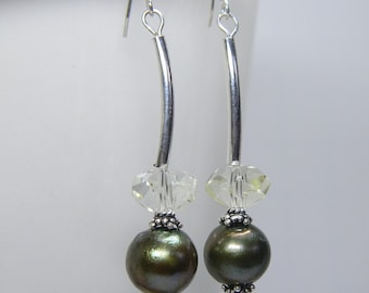 Large Green Pearl Curved Bar Earrings, Modern Pearls Dangle, Freshwater Pearls with Crystal, Bridal- Anniversary - Birthday