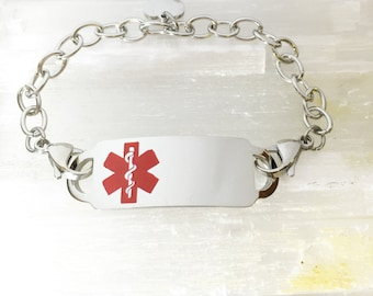 Medical ID Bracelet with Curb Chain and Double Lobster Clasps