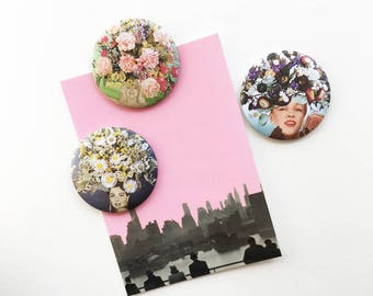 Round Fridge Magnet Set, Kitchen Decor - Floral Fashions