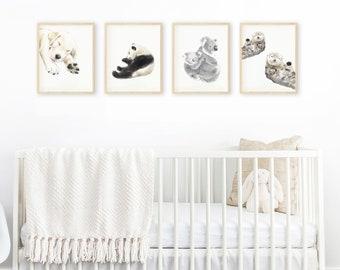 Buy 3 Get 1 FREE - Nursery Wall Art / Safari Nursery Set / Baby Animal Art Set  / Mordern Nursery Print Set / Nursery Room Decor / Woodland