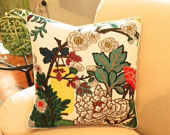 Schumacher Alabaster Chiang Mai Dragon Pillow Cover Piped with Ivory and Featuring Flowers and Lanterns