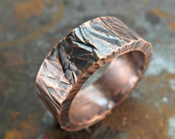 wide mens ring copper, bold copper ring, cool mens ring, personalized mens ring, thick copper ring, wide copper ring, forged ring copper