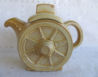 Vintage Retro Frankoma Wagon Wheel mini Tea Pot Teapot Pitcher Desert Gold 94J