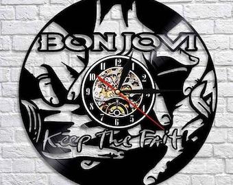 Bon Jovi Music Gift Vinyl Record Wall Clock