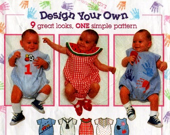 Uncut Infants' ROMPER ONESIES PATTERN Simplicity #7022 Size Newborn Small Medium Large Baby Girls Boys Spring Easter Summer Sewing