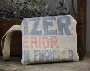 Vintage Feed Sack Wristlet | Zipper Pouch | Upcycled | Repurposed | Feedsack Pouch | Grain Sack | Seedsack | Red Ticking