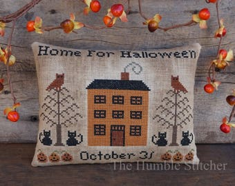Home For Halloween...Primitive PAPER Cross Stitch Pattern By The Humble Stitcher