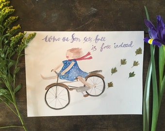 Scripture print , encouragement, inspirational art for women, free indeed
