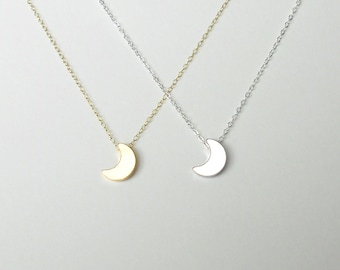 Moon Necklace, Gold Filled Chain, Sterling Silver Chain,  Dainty Necklace, Moon Pendant, Gold Necklace, Delicate, Bridesmaid Gift