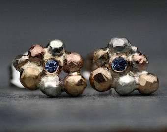 Montana Yogo Gulch Sapphires in Orb Cluster Rose, White, and Yellow Gold Post Earrings- Ready to Ship