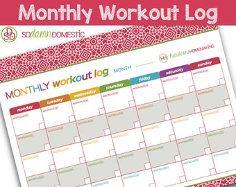 "Monthly Workout Log Printable Planner - Letter Size 8.5"" x 11"""