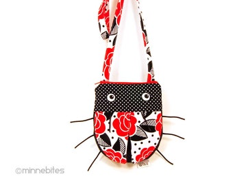 Ladybug Purse - Birthday Gift for Kids - Girls Cross Body Purse for Toddler Girls - Animal Bag - Frida Kahlo Red Flowers - Ready to Ship