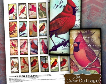 1x2 Domino Collage Sheet - Cardinal Collage Sheet - 1x2 Domino Tile - Domino Images - Red Bird Images - Digital Collage Sheet - Bird Images