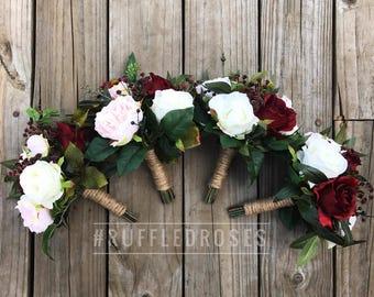 Bridesmaid Bouquet Burgundy, Boho Bouquet, Bridesmaid Bouquet, Blush and Burgundy Bouquet, Bridesmaid Bouquet