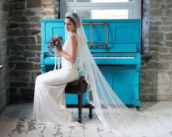 Wedding Veil KATE, Drop Veil, Chantilly Veil,  Bridal Veil, Chapel Veil, lace veil, Ivory Veil, Silk veil, made to order