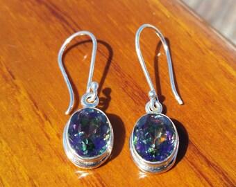 Oval Mystic Topaz Earrings, Mystic Topaz Dangle Earrings, Handmade Mystic Topaz Drop Earrings, Oval Topaz Earrings, Mystic Topaz Jewelry
